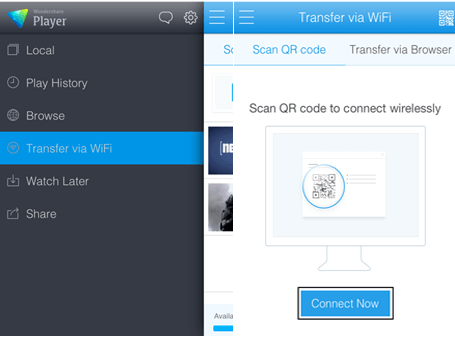 "Choose ""Transfer via Wi-Fi on iPhone"