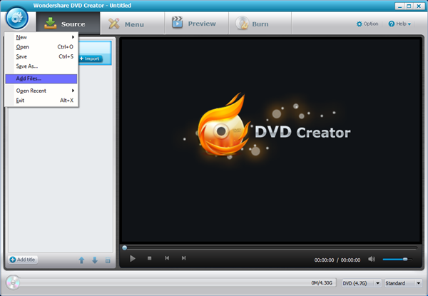 DVD Creator Add Files