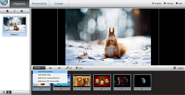 Add Photo to Slideshow Builder