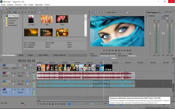 Main Interface of Sony Vegas