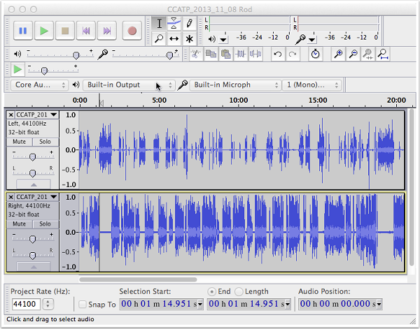 Select Background Noise with Audacity