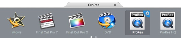 Set output format as Apple ProRes 422