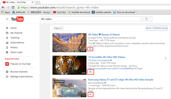 Search 4K Video on YouTube